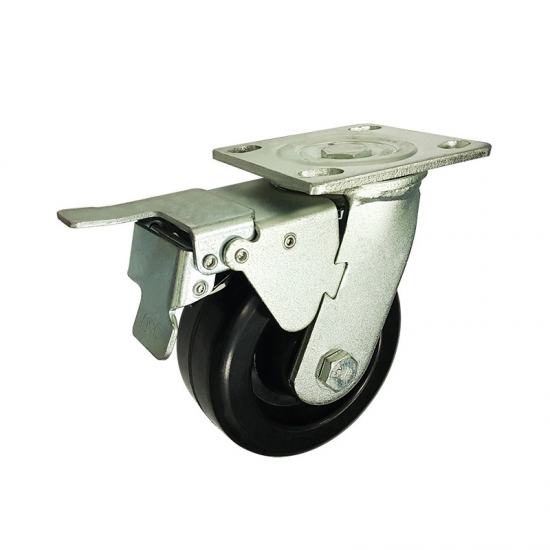 High heat resistant swivel caster wheels with brakes