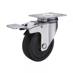 Black hard rubber swivel caster wheel with double brakes