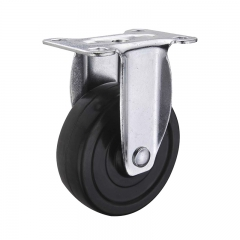 Black hard rubber rigid caster wheel