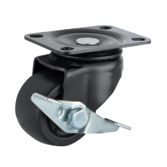 Low profile nylon caster wheel with side brake