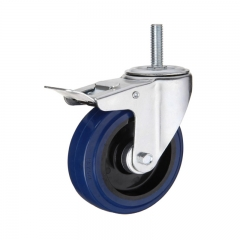 Threaded stem swivel  elastic rubber caster wheel with double brakes