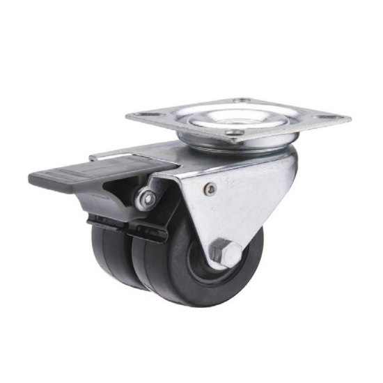 Hard rubber swivel twin-wheel caster locks