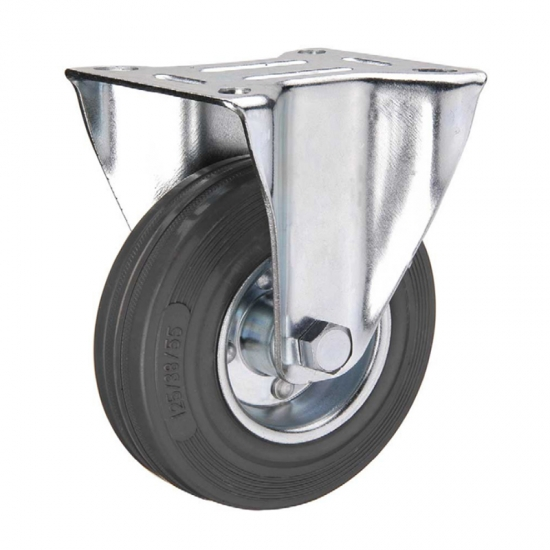 Gray rubber industrial caster wheel