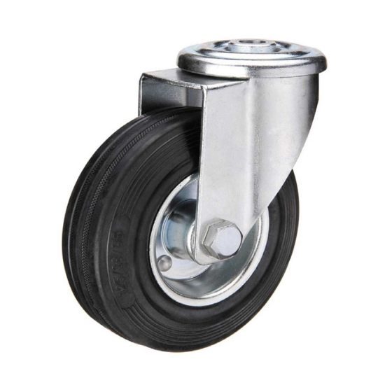 Gray rubber bolt hole industrial caster wheel locks