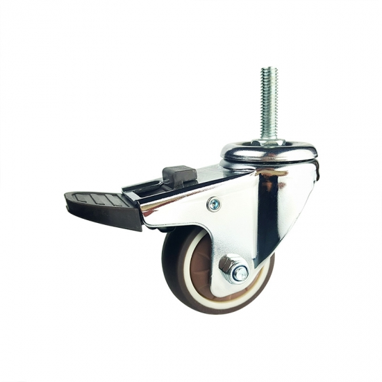 Light duty brown swivel TPR caster wheel with brakes