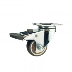 Light duty swivel brown TPR caster wheel with brake