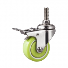 Light duty stainless threaded stem caster with brake
