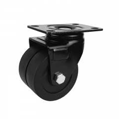 Low profile dual wheel nylon caster wheel