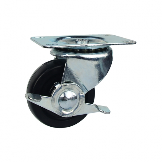 Low profile rubber swivel caster wheel