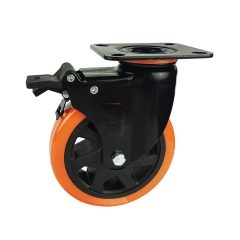 Medium-heavy duty pu swivel caster with brake