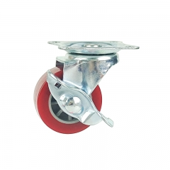 Light duty swivel pu-caster-Rad mit side Bremse