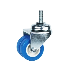 Light duty threaded stem blau pvc-Schwenk-twin-Rad-caster-Rad