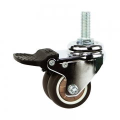 Light duty swivel brown TPR caster Rad mit Schloss